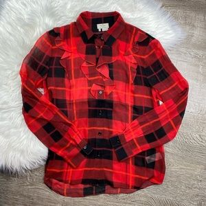 Kate Spade Red Holiday Checked Ruffle Blouse